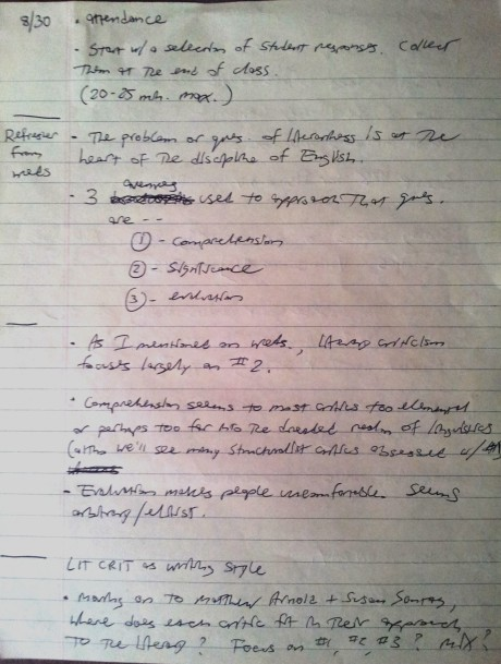 My Original Lecture Notes (Week One, Fall 2013)