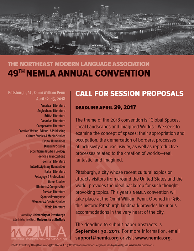 NEMLA CALL FOR SESSIONS 2018